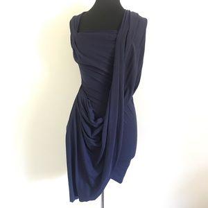 Hapiru Blue Draped Sleeveless Dress Size Small